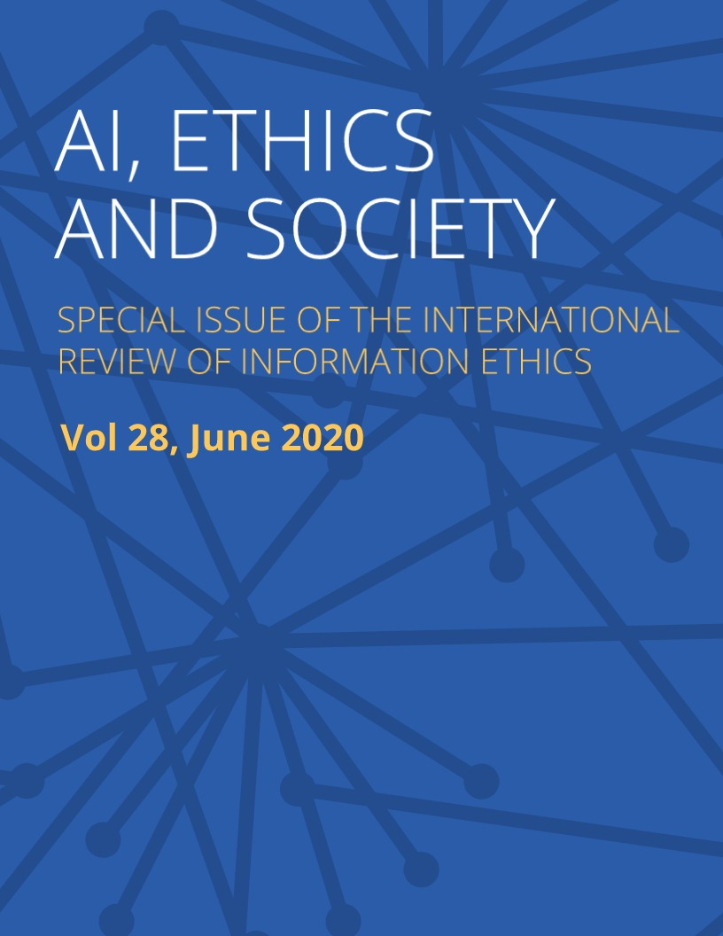 Cover for the AI, Ethics and Society special issue of the International Review of Information Ethics
